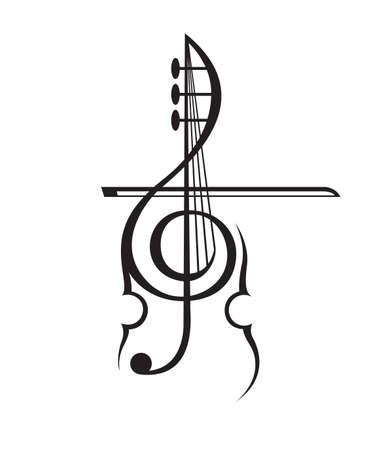 ヴァイオリンとト音記号の白黒イラスト  イラスト・ベクター素材