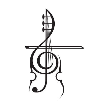 monochrome illustratie van viool en g-sleutel Stock Illustratie