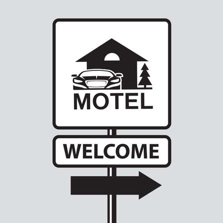 monochrome illustration of road sign to motel and car