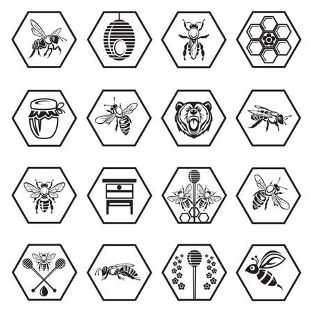 monochrome set of icons with bees and honey