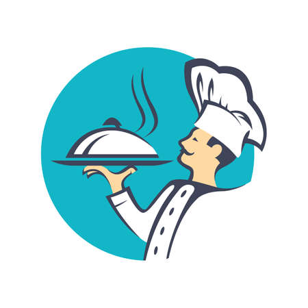 gastronomy: chef icon with tray of food in hand
