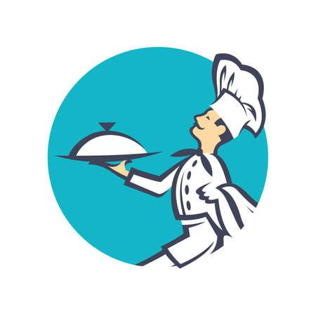cocina caricatura: icono del cocinero con la bandeja de comida en la mano