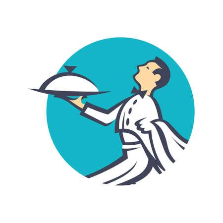 hombre caricatura: icono de camarero con la bandeja de comida en la mano Vectores