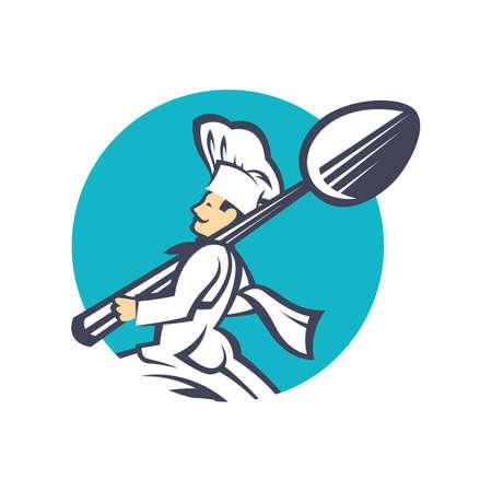 cocina caricatura: icono del cocinero con la cuchara en la mano