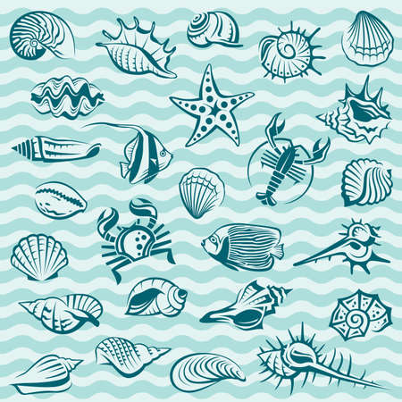 collection of seashells, crabs and fish on blue background