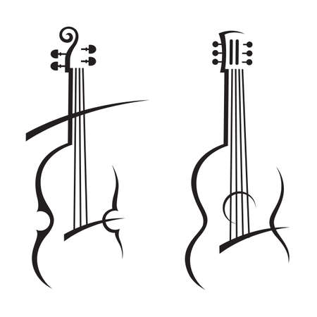 abstract illustration of violin and guitar