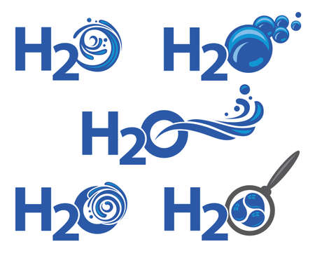 water's: set of five abstract waters icons as text Illustration