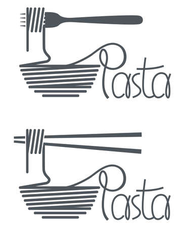 image of fork, chopsticks and dish with pasta Illustration