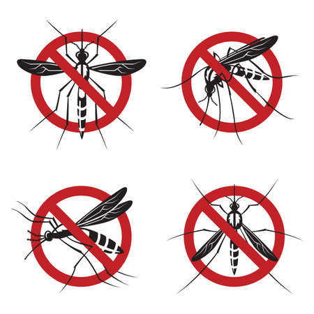 suck blood: collection of four mosquito prohibited sign