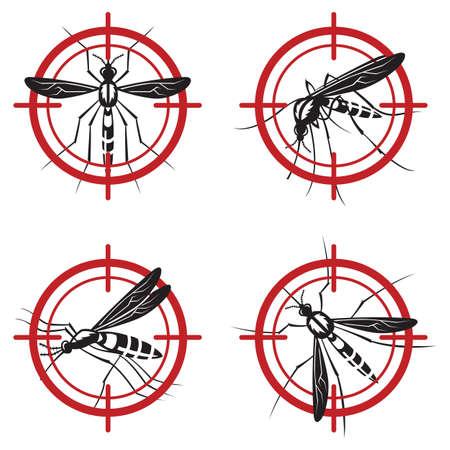 prohibido: colección de cuatro signo mosquito prohibida