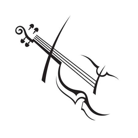 ヴァイオリンの抽象的な白黒イラスト
