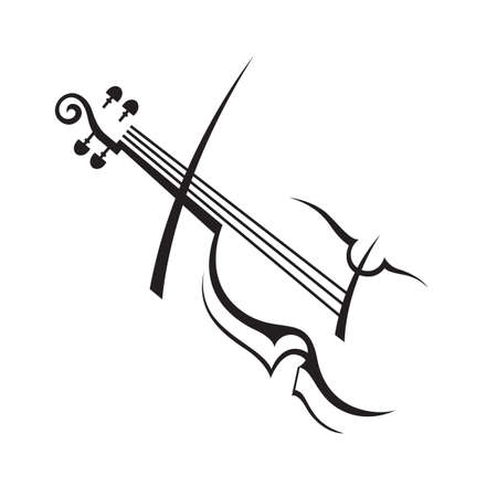 abstracte zwart-wit illustratie van de viool