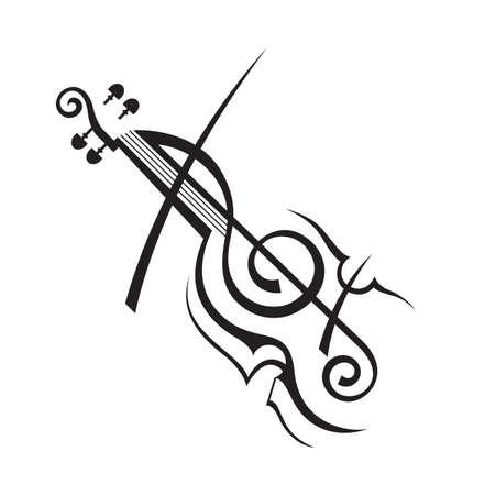 chiave di violino: astratto illustrazione in bianco e nero di violino