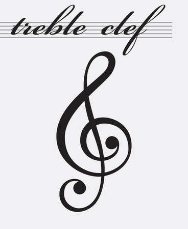 classic classical: monochrome icon of treble clef