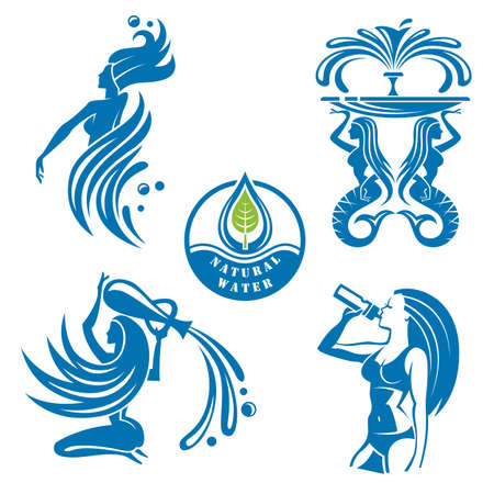 girl drinking water: set of abstract water icons as girls