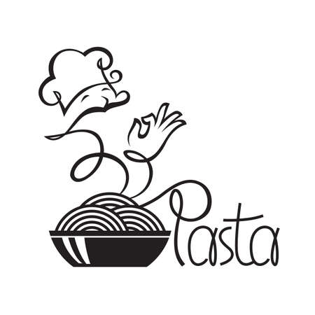 pastry chef: monochrome icon of chef and dish with pasta