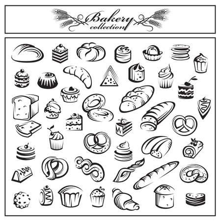 collection monochrome de pain et produits de boulangerie