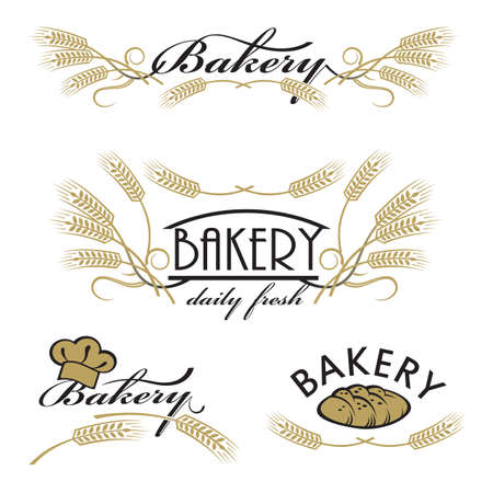 ingredients: collection of bread and bakery product Illustration