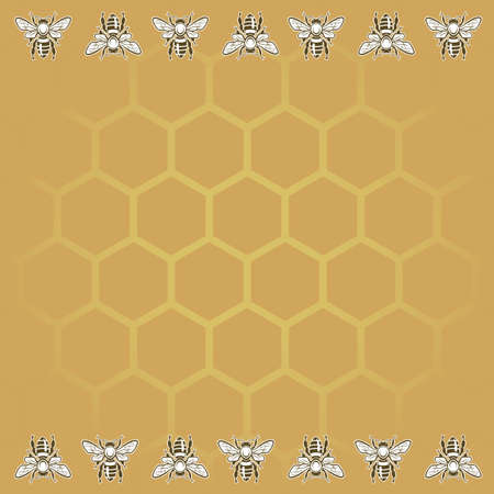animal cell: background with bees and honeycomb