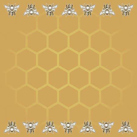celula animal: Fondo con las abejas y el panal Vectores