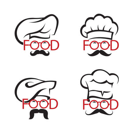 black business men: collection of illustrations with mustachioed chefs in glasses as text Illustration