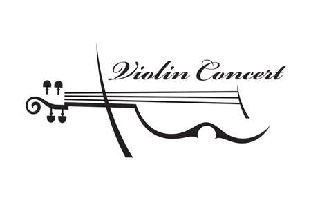 abstract monochrome illustration of violin with text Фото со стока - 57658639
