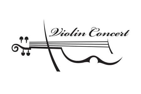violines: ilustración en blanco y negro abstracto del violín con el texto