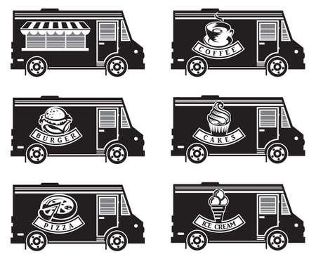 collection de six camions de nourriture