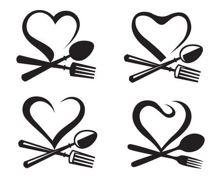 spoon fork: black illustration of icons collection with spoon, fork and heart