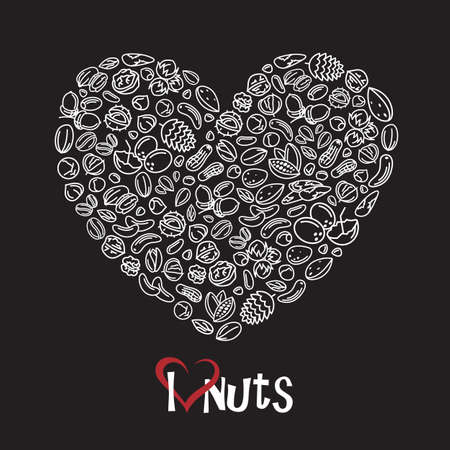 brazil nut: illustration of nuts icon as heart on black