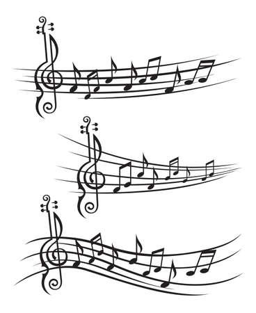monochrome verzameling muziek notities op staaf