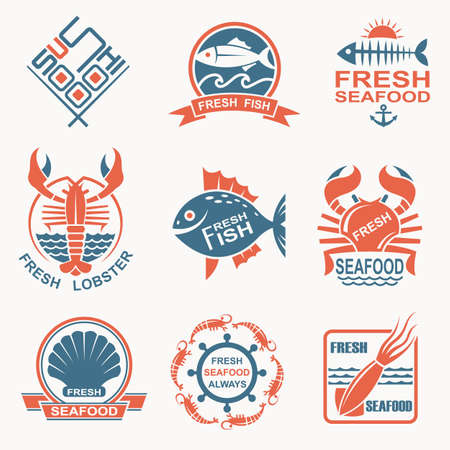 fish type: collection of nine seafood icons Illustration