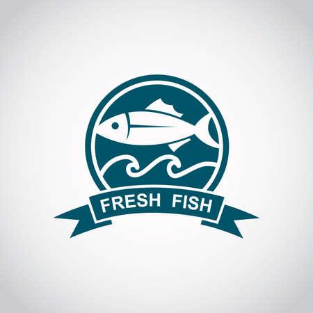 logo poisson: fruits de mer icône avec le poisson et le ruban