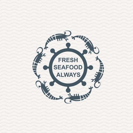 fish type: monochrome seafood icon with shrimp