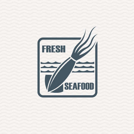 squid: monochrome seafood icon with squid