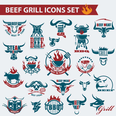 set of various beef meat icons and elements
