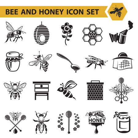collection of bee and honey icons Illustration