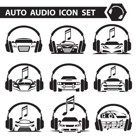 sound system: collection of nine icons with car radio and headphones
