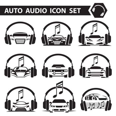verzameling van negen iconen met autoradio en hoofdtelefoons