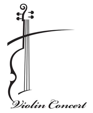 テキストとヴァイオリンの抽象的な白黒イラスト