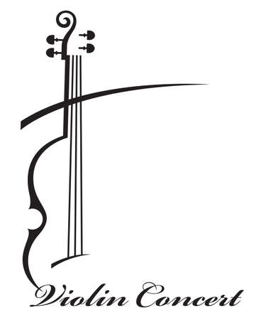 abstract monochrome illustration of violin with text Stock Vector - 59730498