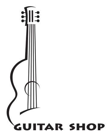 manifesto in bianco e nero di chitarra con testo