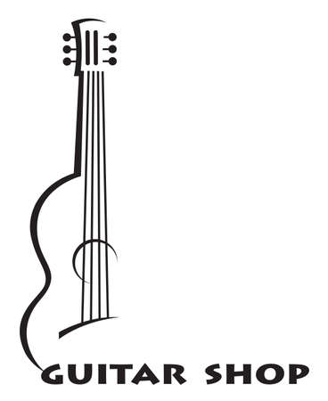 music symbol: monochrome poster of guitar with text