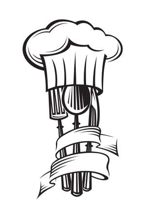 knife fork: monochrome illustrations of knife, fork, spoon and hat