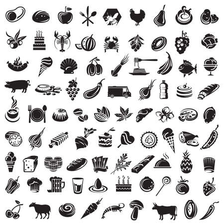 collection of food icons and elements