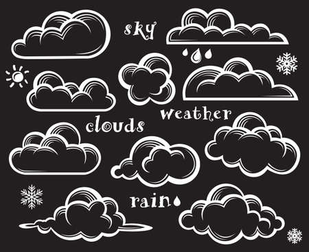 illustration collection: illustration of clouds collection on black background Illustration