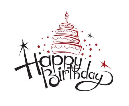 gateau anniversaire: heureux design de carte d'anniversaire avec un gâteau