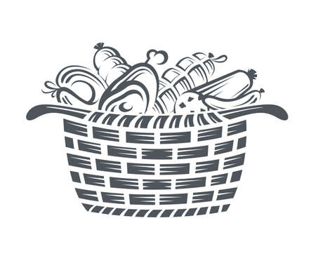 veal sausage: monochrome illustration of basket with various sausages and meat products Illustration
