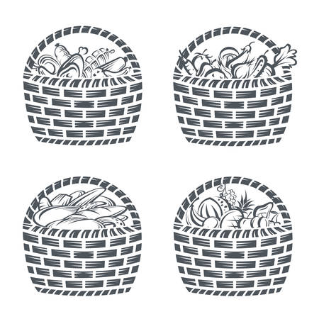 veal sausage: monochrome collection of baskets with sausages, fruit, vegetables and bakery Illustration