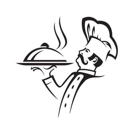 restaurant food: chef image with tray of food in hand Illustration
